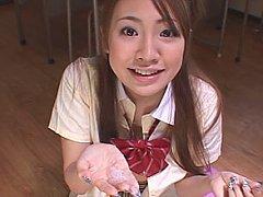Cosplay japanese schoolgirl Minami Rin power chugs...