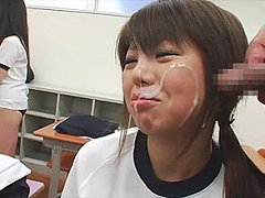 Cute schoolgirls are subjected to bukkake shots in...