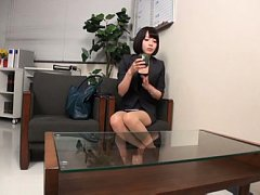 Japanese AV Model in office outfit touches cock wi...