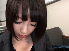 Japanese AV Model with office suit and gloves is d...