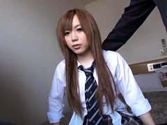 Japanese AV Model in uniform has panty stuck betwe...