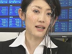 Cute japanese tv news girl gets doused with cum