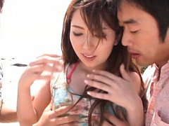 Yui Hatano Asian in tight skirt is touched on boob...