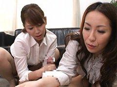 Chisato Shohda Asian and dame in uniform rub cock...