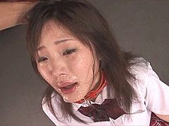 Sexy schoolgirl does messy deep throat irrumatio