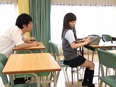 Yuri Shinomiya Asian in school uniform is kissed b...