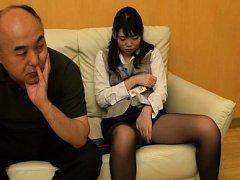 Japanese AV Model touches her slit over stockings...