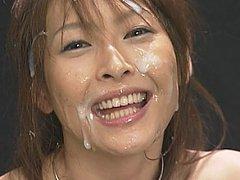 Nana Natsume takes massive facial and hair cumshot...