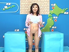 Japanese weather girl is splashed with semen from...