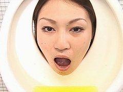 Japanese toilet girls blasted by messy bukkake flu...