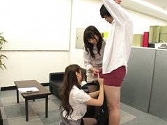 Mao Mizusawa Asian and dame on heels make boss the...