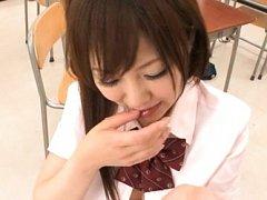 Japanese AV Model in uniform plays with lips on er...
