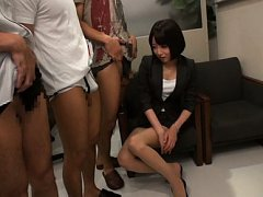 Japanese AV Model is undressed of office suit and...