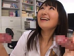 Ayumi Kurebayashi Asian shows tits to men and suck...