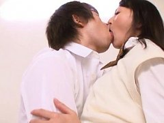 Ayumi Kurebayashi Asian sucks and rubs cocks while...
