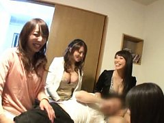 Japanese AV Model smiling and showing tits to stra...