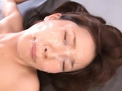 Minami Kojima Asian gets so much sperm on face whi...