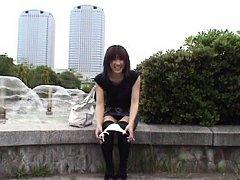 Yuzuki Hatano Asian takes panty off and pees behin...