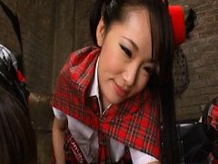 Japanese AV Model and gals in sexy uniforms lick m...