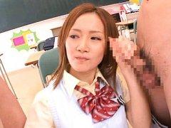Misa Tachibana Asian in sexy uniform sucks cocks i...