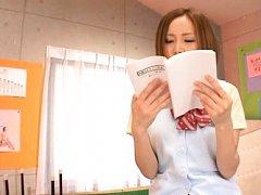 Misa Tachibana Asian in short skirt feels pussy we...