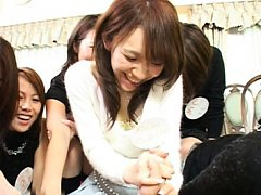 Japanese AV Model shows group of babes how to suck...