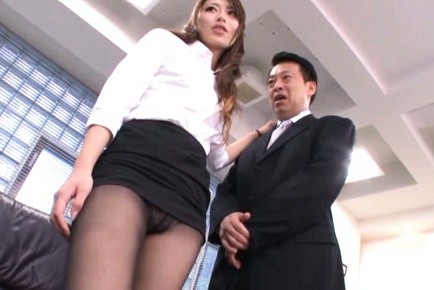 Ayu Sakurai Asian in tight skirt has nooky rubbed...