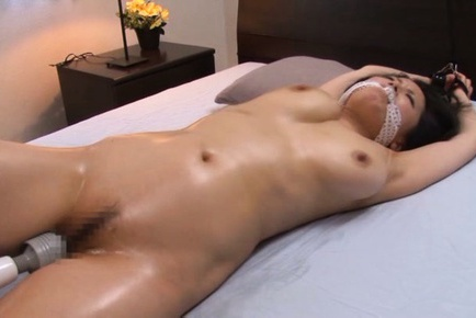Miki Sato Asian with cloth in mouth is fucked with...
