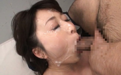Arisa Misato Asian with round cans has face under...