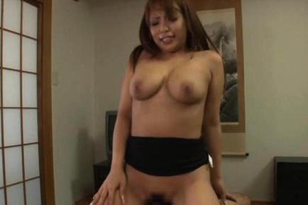 Yuu Sakura Asian squeezes nipples while rubbing co...