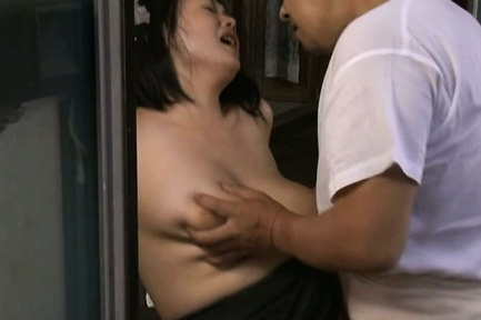 Japanese AV Model has nasty boobs touched while is...