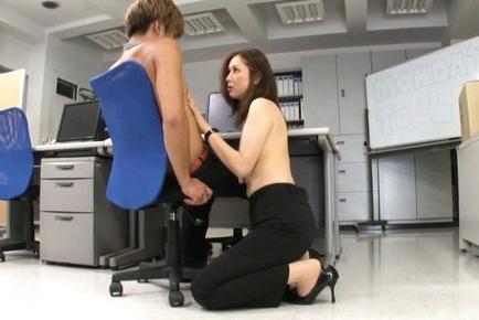 Yurie Matsushima Asian topless in office pants wan...