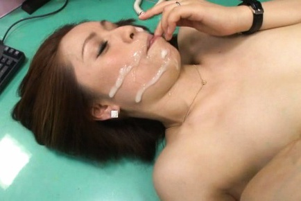Yurie Matsushima Asian gets cumshot on face after...