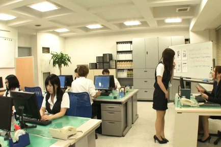 Yurie Matsushima Asian and gals are called by boss...