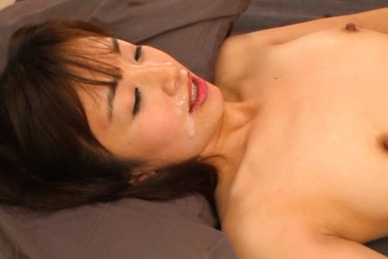 Rimu Sasahara Asian gets cum on mouth after riding...