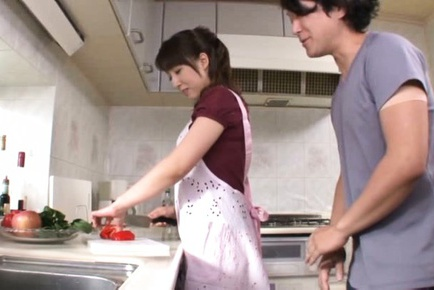 Sayuri Ikuina Asian is kissed and touched by guy w...
