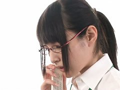 Mihono Sakaguchi with specs gets colleagues finger...