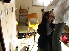 Ruka Kanae Asian in uniform has hands tied and mou...