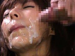 Nami Hoshino Asian has face under big sperm rain f...