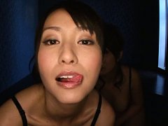 Mako Higashio Asian and dame lick their lips befor...