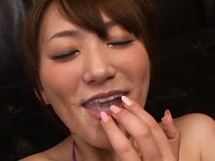 Saki Kouzai Asian shows mouth full of cum while us...