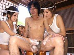 Nana Aoyama Asian and busty nymphets soap and wash...