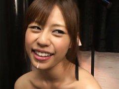 Young Rina Rukawa tastes cum on her tongue after a...