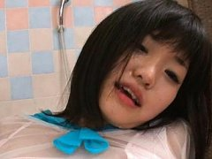 A Sexy Japanese teen screams in joy as she gets a...
