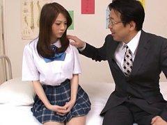 Rui Tsukimoto Asian in uniform has big cans undres...