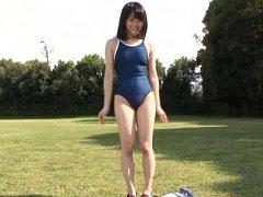 Kurumi Tachibana Asian makes gym exercises and und...