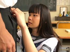 Japanese AV Model shows chest out of uniform and g...