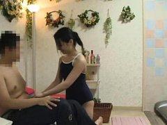 Japanese AV Model in bath suit licks man nipples a...