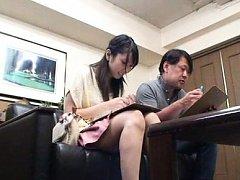 Japanese AV Model with sexy legs meets man at job...