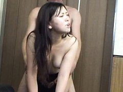 Japanese AV Model with erect nipples is fucked on...